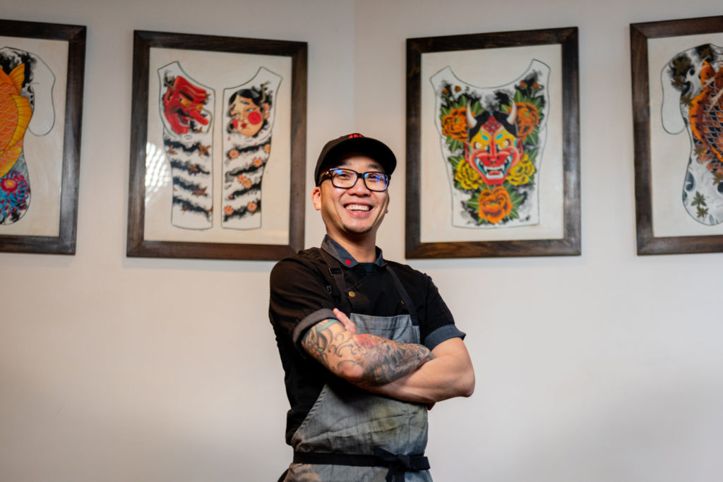 Chef Billy Ngo inside his restaurant Kru in Sacramento, CA
